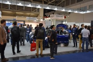 By no means a spectacular Tesla stand at Intersolar, but still of great interest